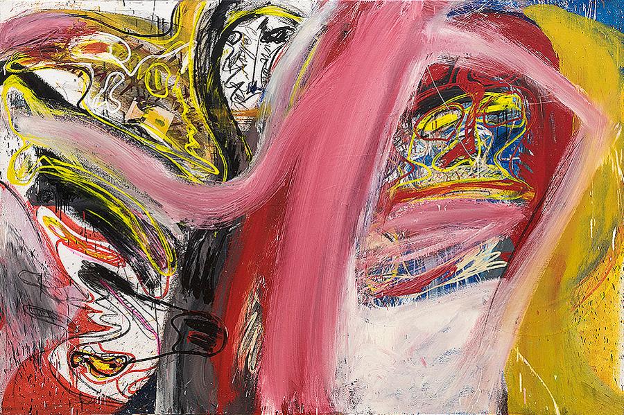 """Walter Stöhrer, """"Januskopf… Sie kann ihren Obsessionen folgen, zu meinen Gunsten gibt es nur diesen Zug"""", 1976/77, Öl auf Leinwand, 200 x 300 cm, Erworben 2016"""
