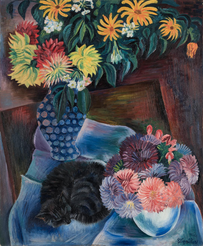 "Conrad Felixmüller, ""Herbstblumen mit Katze II"", 1922. Erworben 2017"