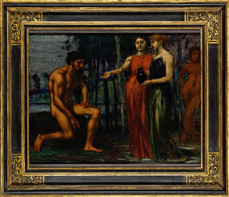 Hans von Marées, Die Labung, 1879/80, Tempera und Öl auf Pappelholz, 64 x 85 cm Erworben 2014