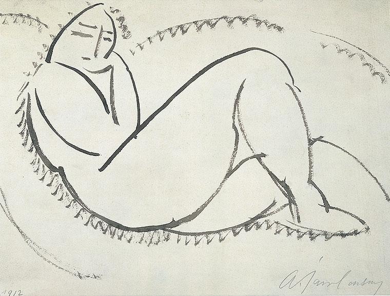 Alexej von Jawlensky, Frauenakt N. 28, 1912, Federzeichnung auf Papier, 24,8 x 32,5 cm Erworben 2004