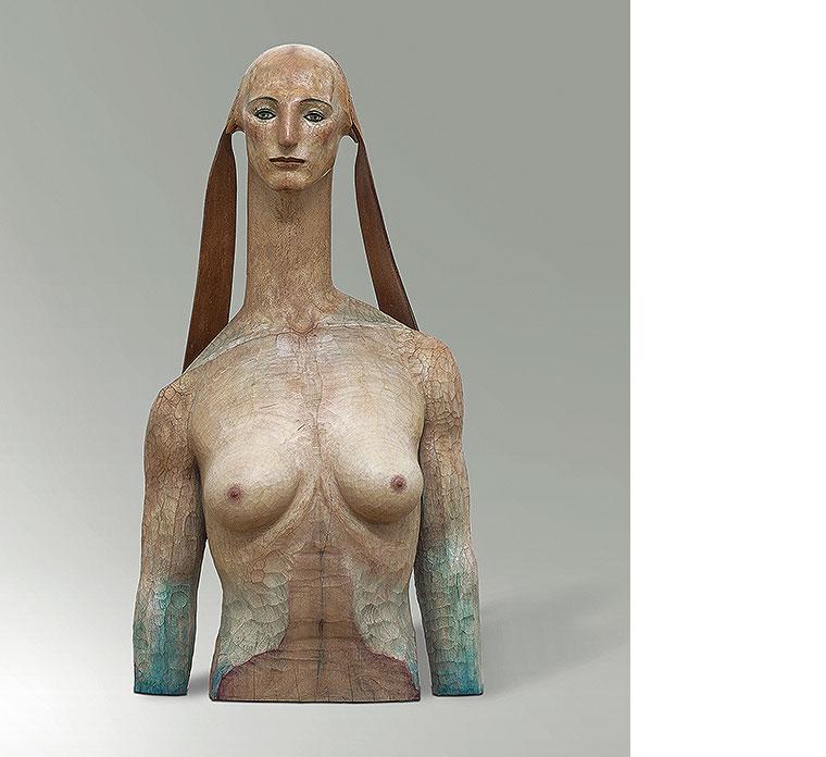 Katsura Funakoshi, A Tale of the Sphinx, 2004, Kampferholz, farbig gefasst und poliert, Leder, Marmor, 96,5 x 52 x 31 cm Erworben 2005