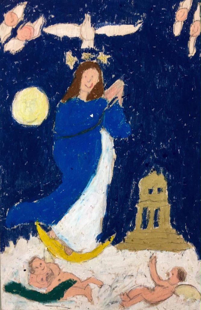 """Kleine Künstler in der Museumswerkstatt für Kinder: """"Ereignisreich, dramatisch, wild"""", zeichnerische Annäherungen an Werke des Barock. Hier: Jusepe de Ribera """"Die Unbefleckte Empfängnis Mariä""""."""