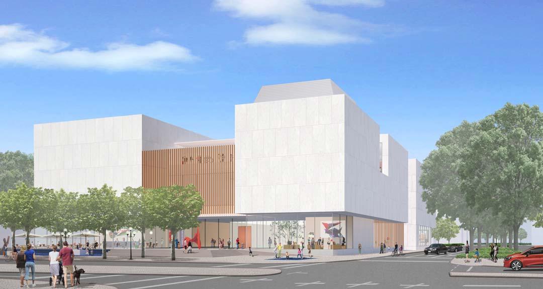 So sieht das Maki-Museumsgebäude im Vorentwurf aus: helle Granitfassade, Fensterfront im Erdgeschoss. Es soll ein Café und einen öffentlich zugänglichen Innenhof geben. Foto: zur Verfügung gestellt von Reinhard Ernst