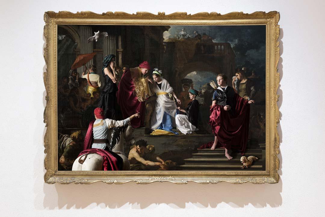 Abschied der Rebekka (1708–1709) von Franceso Solimena, interaktiv interpretiert von Schülerinnen und Schülern des Jugend-Kunst-Clubs des Museums Wiesbaden (2016). Foto: Bernd Fickert/Museum Wiesbaden