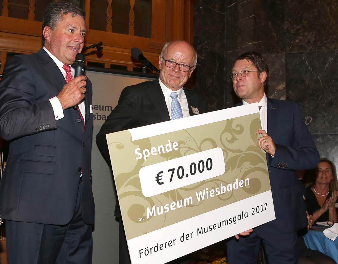 Schecküberreichung durch Stephan Ziegler (Kuratoriumsvorsitzender) und Dr. Gerd Eckelmann (Vorstandsvorsitzender der Freunde des Museums) an Museumsdirektor Dr. Alexander Klar. Foto: Detlef Gottwald