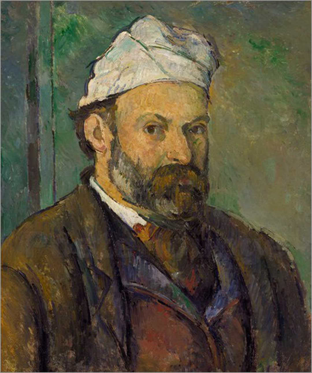 Paul Cézanne: Selbstbildnis mit weißem Turban, um 1878/80, Neue Pinakothek München