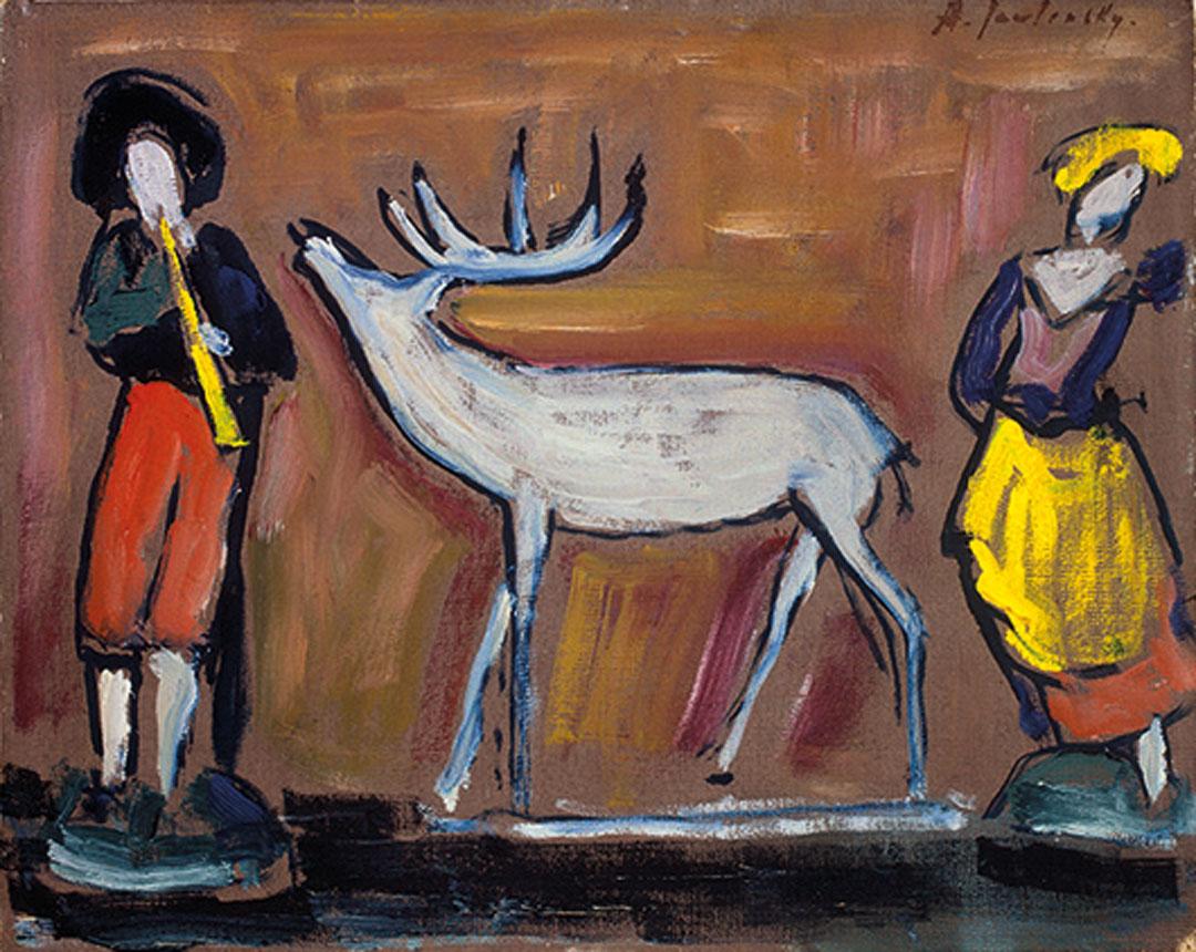 Alexej von Jawlensky, Stillleben mit zwei Figuren und weißem Reh, um 1927, Privatbesitz