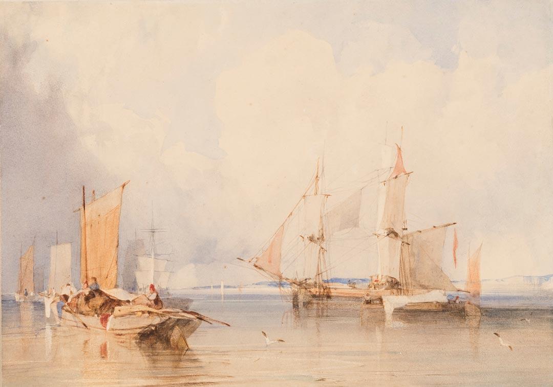 Richard Parkes Bonington, Ruhige Schifffahrt bei Dunkerque, o. J., Privatsammlung (Foto: Museum Wiesbaden/Bernd Fickert)