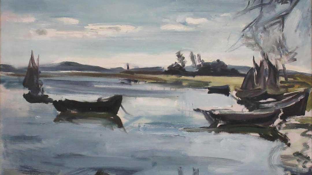 """""""Segelboote"""" heißt das Gemälde von Walter Jacobs, das zwei Mainzer dem Museum Wiesbaden geschenkt haben. (Foto: Museum Wiesbaden)"""