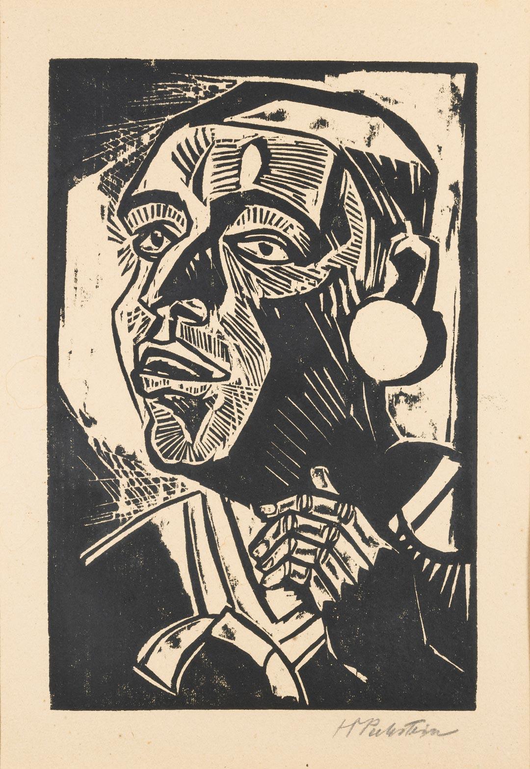 Max Pechstein: Der Redner, 1918, Holzschnitt (Foto: Museum Wiesbaden/Bernd Fickert)