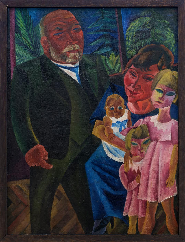 """Aus der Ausstellung """"Heinrich Kirchhoff – ein Sammler von Jawlensky, Klee, Nolde …"""": Conrad Felixmüller, Familienbildnis Kirchhoff, 1920. Museum Wiesbaden © VG Bild-Kunst, Bonn 2018"""