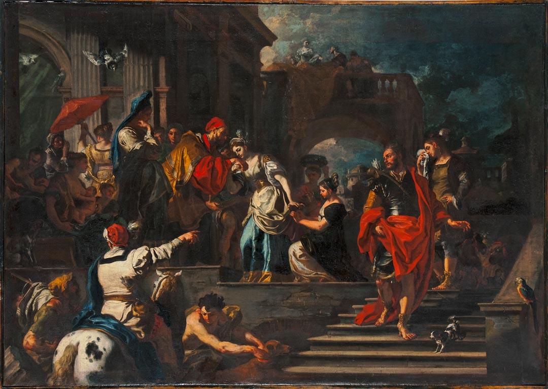 "Aus der Ausstellung ""Caravaggios Erben"": Francesco Solimena (1657-1747), Der Abschied der Rebekka. Museum Wiesbaden (Foto: Bernd Fickert)"