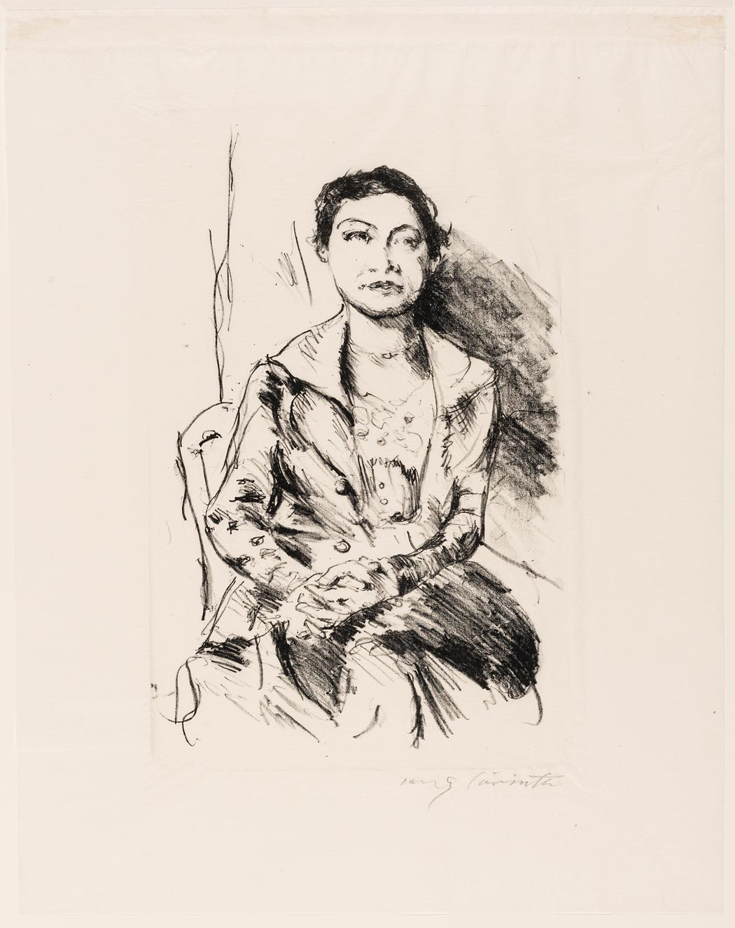 """Lovis Corinth, """"Bildnis einer Jungen Dame"""", 1918, Lithographie (Foto: Museum Wiesbaden/ Bernd Fickert)"""