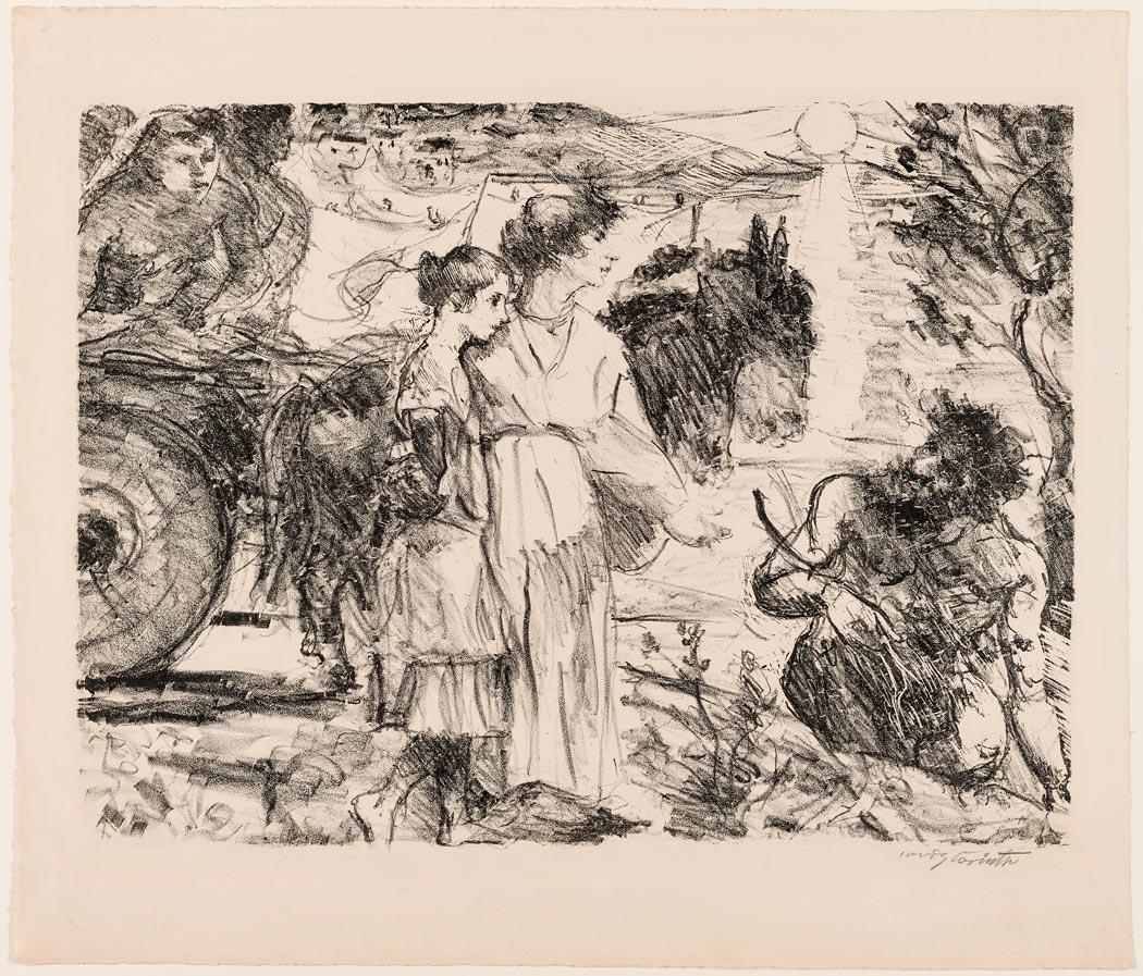 "Lovis Corinth, ""Odysseus und Nausikaa"", 1918, Lithographie (Foto: Museum Wiesbaden/ Bernd Fickert)"