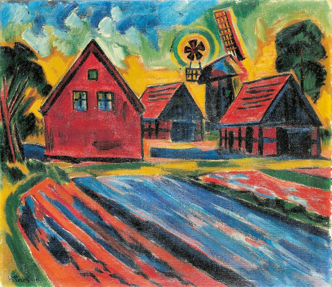 Nachklang zur Brabant-Ausstellung: Die roten Häuser von Max Pechstein (Foto: Museum Wiesbaden)
