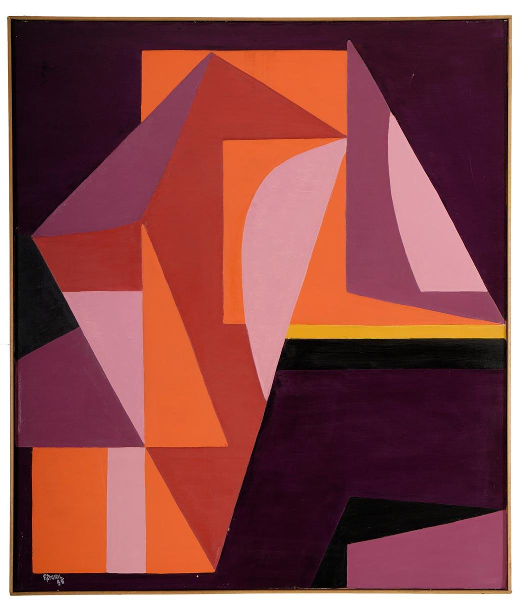 Otto Ritschl: Zwanzigstes Bild aus dem Jahr 1955, Geometrische Werkphase, Werkverzeichnis des Museumsvereins Ritschl e.V., Verlag Hirmer
