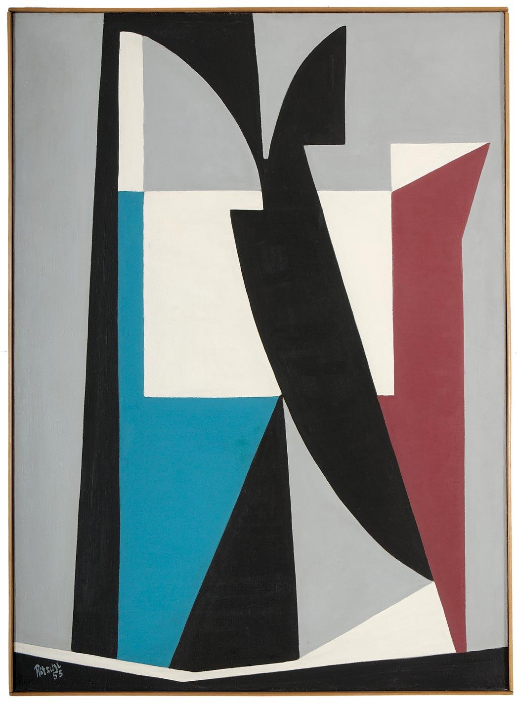 Otto Ritschl: Sechstes Bild aus dem Jahr 1955, Geometrische Werkphase, Werkverzeichnis des Museumsvereins Ritschl e.V., Verlag Hirmer