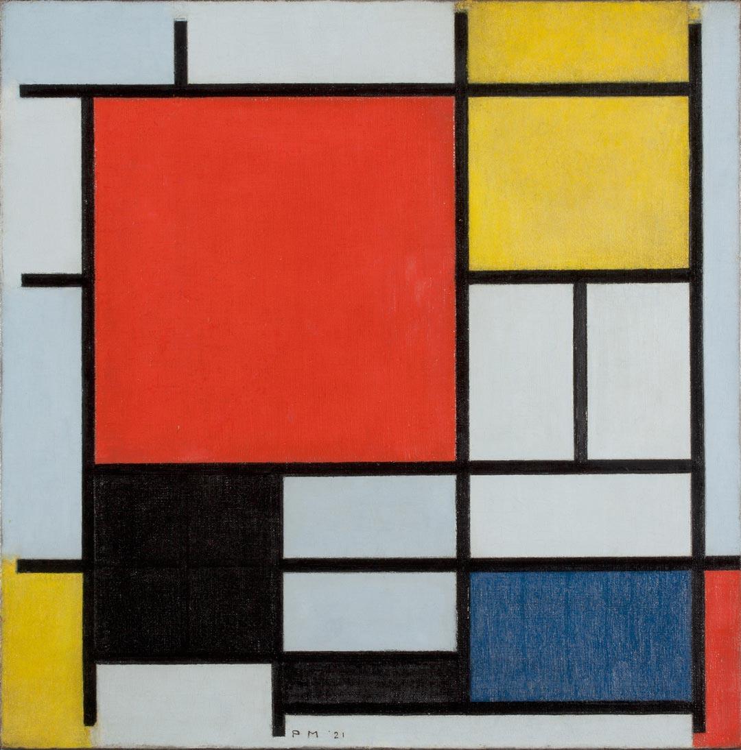 Hat große Anziehungskraft: Die Mondrian-Ausstellung. Hier die Komposition mit großer roter Fläche, Gelb, Schwarz, Grau und Blau (1921); Collection Gemeentemuseum Den Haag, The Hague, The Netherlands