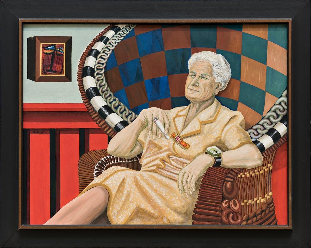 Das charakteristische Zwinkern der Hanna Bekker vom Rath, festgehalten von dem Künstler Benno Walldorf. (Foto: Museum Wiesbaden / Bernd Fickert)