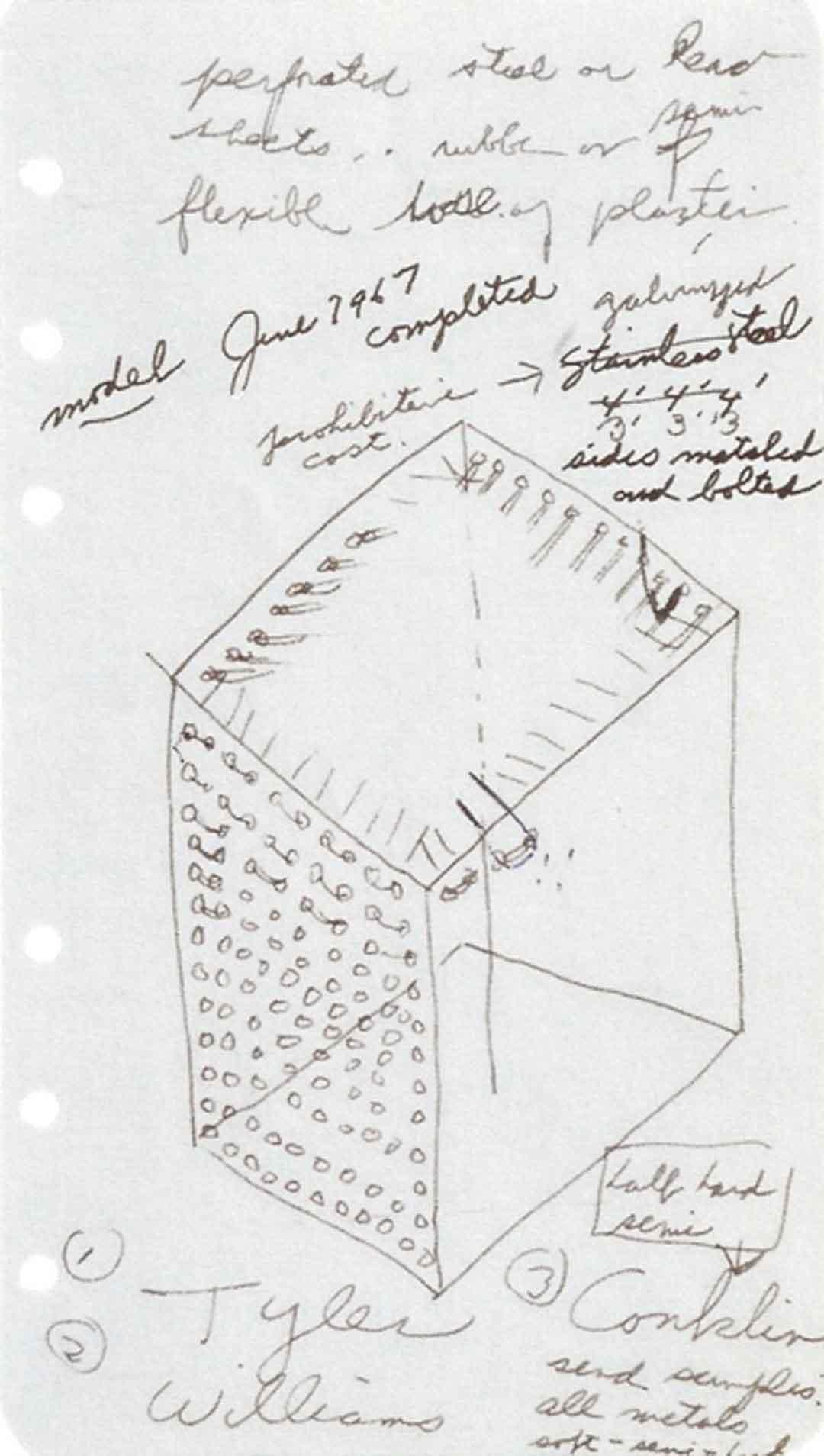 Eva Hesse, No title, 1967, Tusche und Graphit auf perforiertem Notizpapier (Skizze für Accession III); Eva Hesse Estate