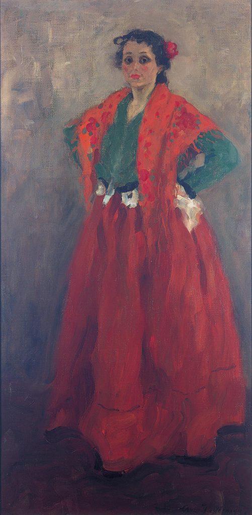 Helene im spanischen Kostüm (1901/1902), die wertvolle Schenkung des Sammlers Brank Brabant ans Museum Wiesbaden. Als Jawlensky dieses Bild schuf, war seine Frau Helene mit Angelicas Vater Andreas schwanger. (Foto: Museum Wiesbaden/Bernd Fickert)