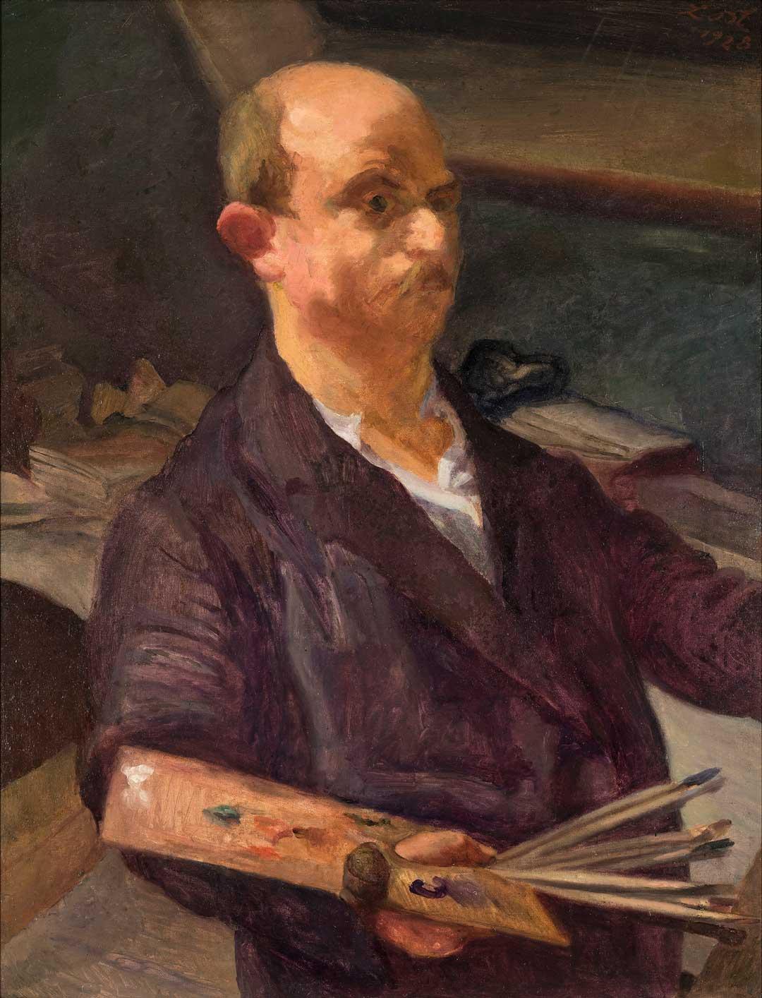 Ludwig Meidner, Selbstbildnis mit Palette, 1928, Museum Wiesbaden, erworben 2019 mit Unterstützung des Fördervereins Freunde des Museums Wiesbaden e.V. (Foto: Bernd Fickert/Museum Wiesbaden)